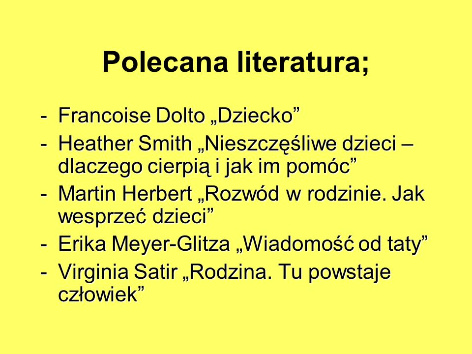 """Polecana literatura; Francoise Dolto """"Dziecko"""