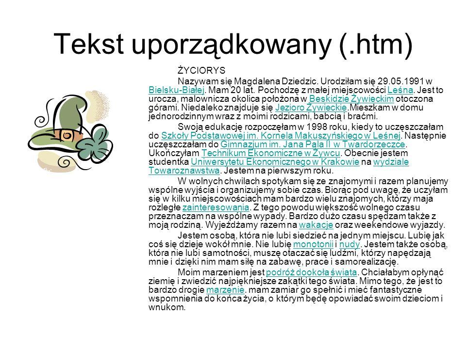 Tekst uporządkowany (.htm)