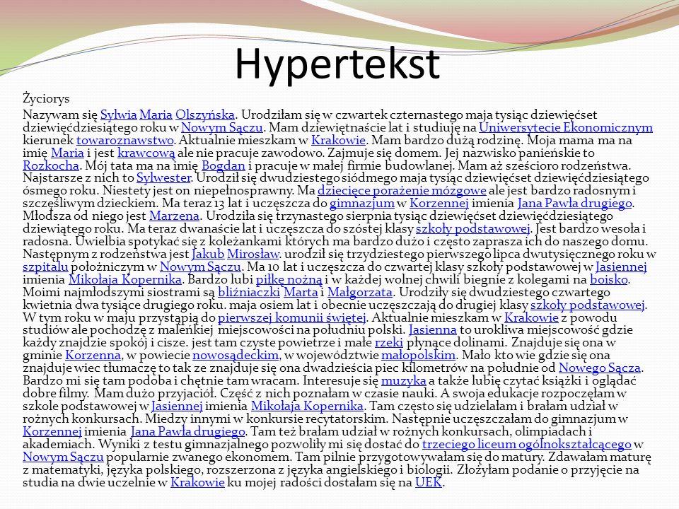 Hypertekst Życiorys.
