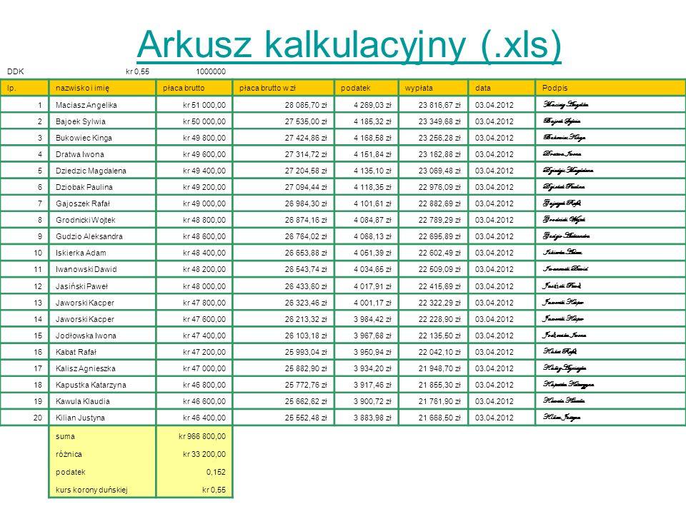 Arkusz kalkulacyjny (.xls)
