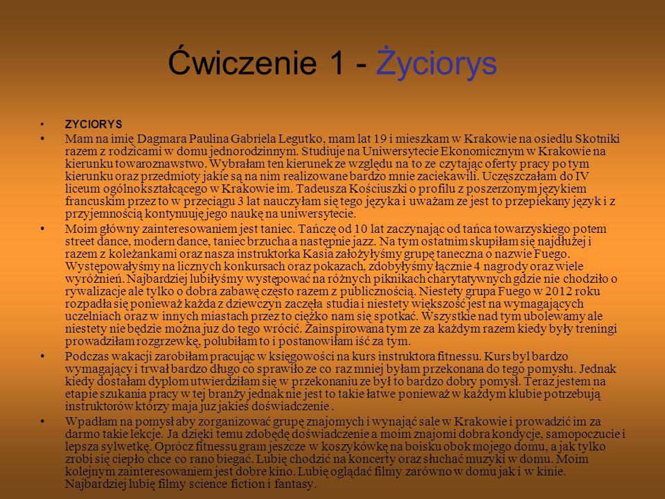 Ćwiczenie 1 - Życiorys ZYCIORYS.