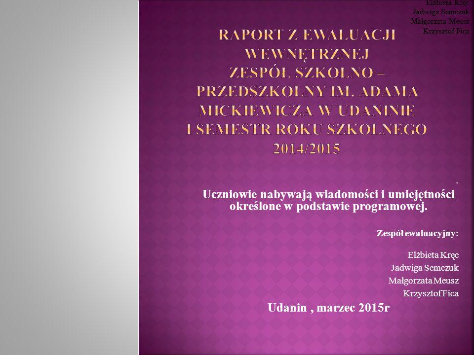 Zespół ewaluacyjny: Elżbieta Kręc. Jadwiga Semczuk. Małgorzata Meusz. Krzysztof Fica. Zespół ewaluacyjny: