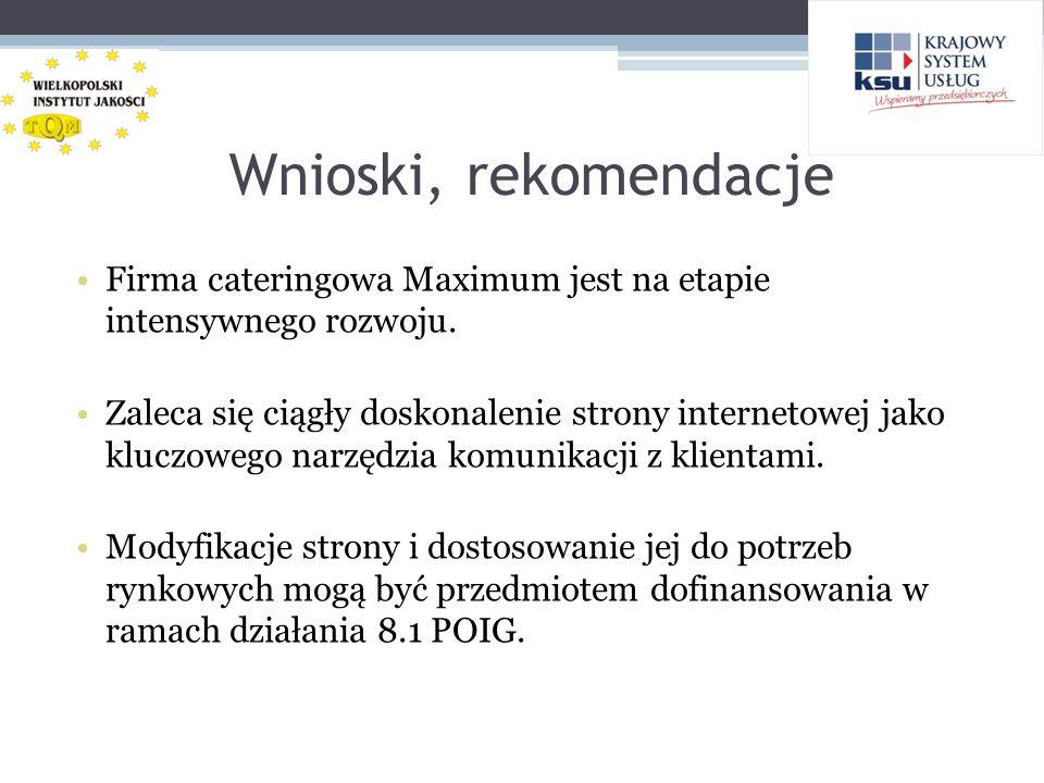 Wnioski, rekomendacje Firma cateringowa Maximum jest na etapie intensywnego rozwoju.