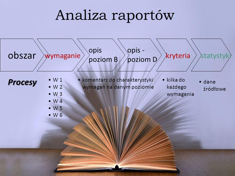 Analiza raportów obszar Procesy opis poziom B opis - poziom D