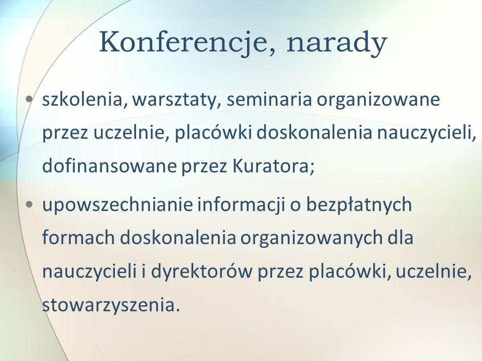 Konferencje, narady szkolenia, warsztaty, seminaria organizowane przez uczelnie, placówki doskonalenia nauczycieli, dofinansowane przez Kuratora;