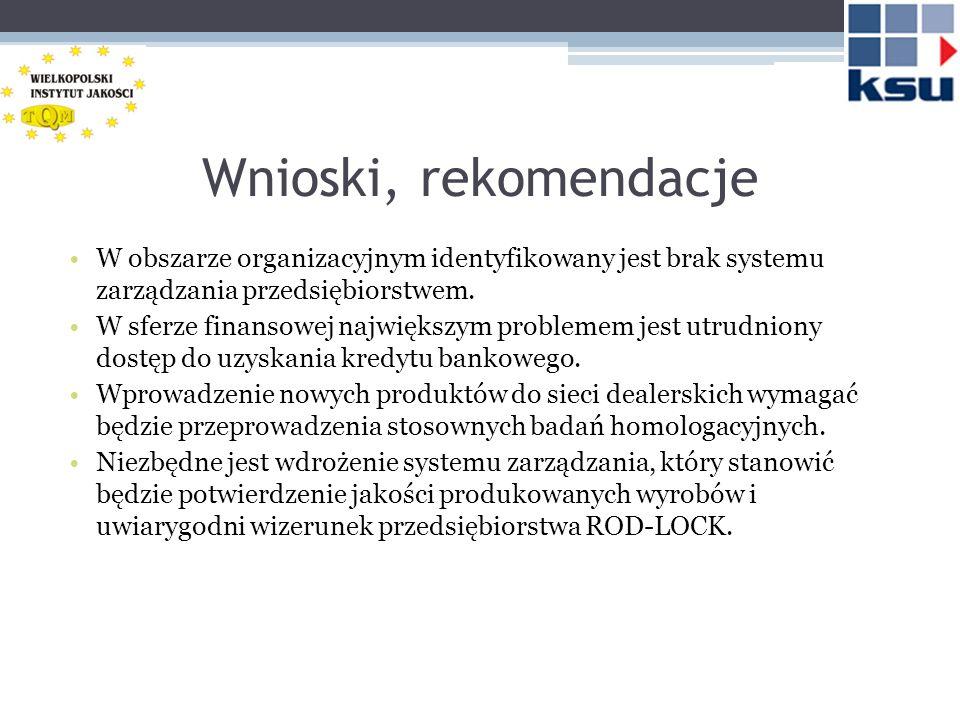 Wnioski, rekomendacje W obszarze organizacyjnym identyfikowany jest brak systemu zarządzania przedsiębiorstwem.