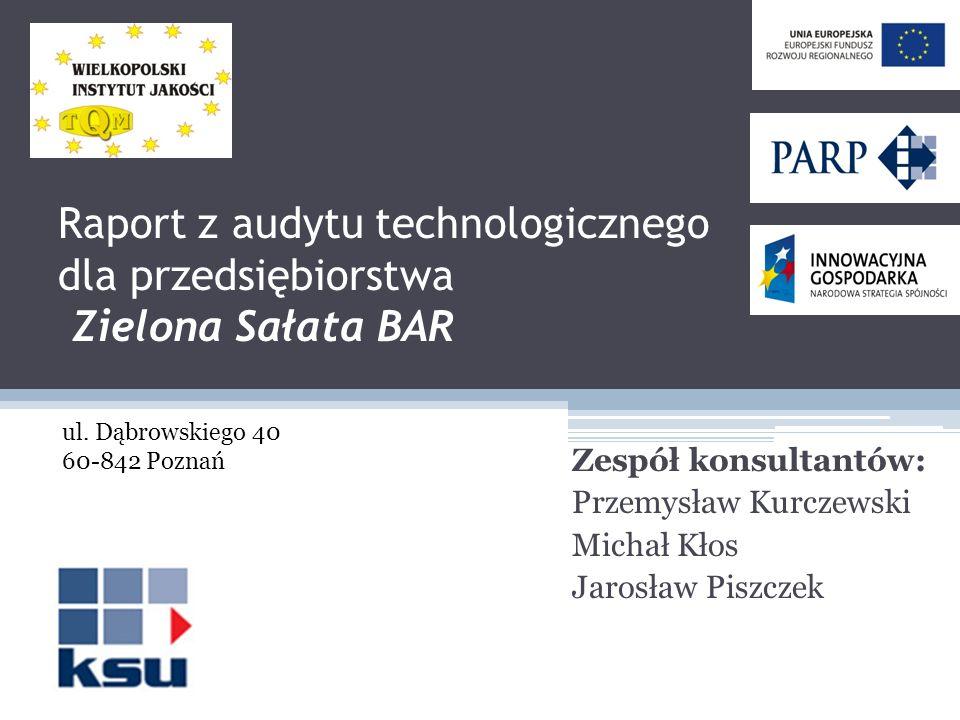 Raport z audytu technologicznego dla przedsiębiorstwa Zielona Sałata BAR