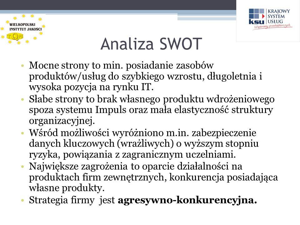 Analiza SWOT Mocne strony to min. posiadanie zasobów produktów/usług do szybkiego wzrostu, długoletnia i wysoka pozycja na rynku IT.