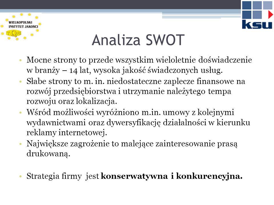 Analiza SWOT Mocne strony to przede wszystkim wieloletnie doświadczenie w branży – 14 lat, wysoka jakość świadczonych usług.