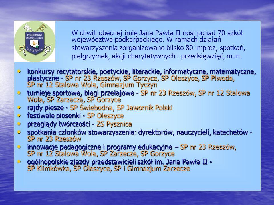 W chwili obecnej imię Jana Pawła II nosi ponad 70 szkół