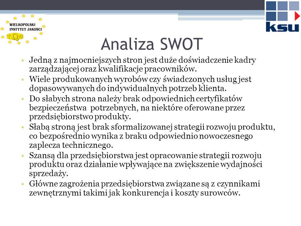 Analiza SWOT Jedną z najmocniejszych stron jest duże doświadczenie kadry zarządzającej oraz kwalifikacje pracowników.