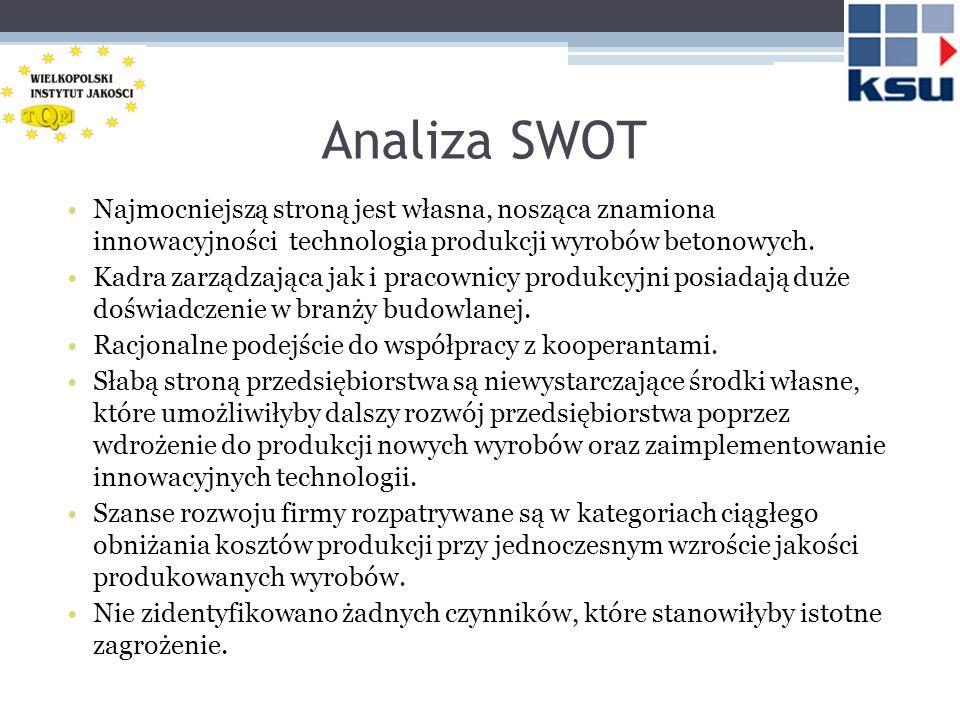 Analiza SWOT Najmocniejszą stroną jest własna, nosząca znamiona innowacyjności technologia produkcji wyrobów betonowych.