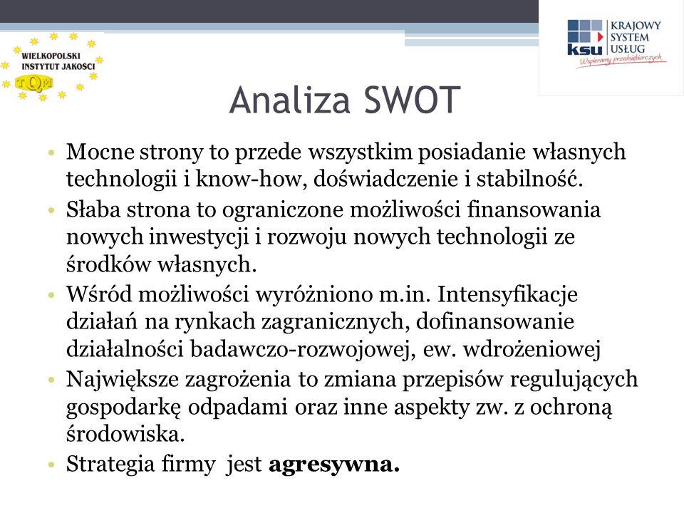 Analiza SWOT Mocne strony to przede wszystkim posiadanie własnych technologii i know-how, doświadczenie i stabilność.