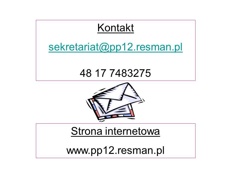 Kontakt sekretariat@pp12.resman.pl 48 17 7483275 Strona internetowa www.pp12.resman.pl