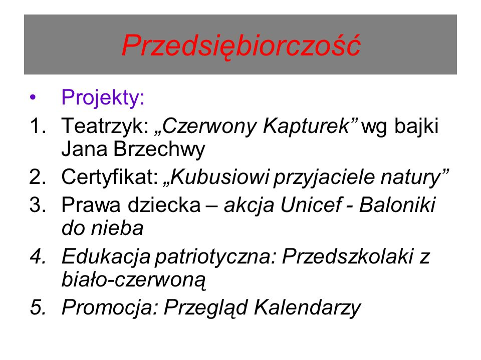 Przedsiębiorczość Projekty: