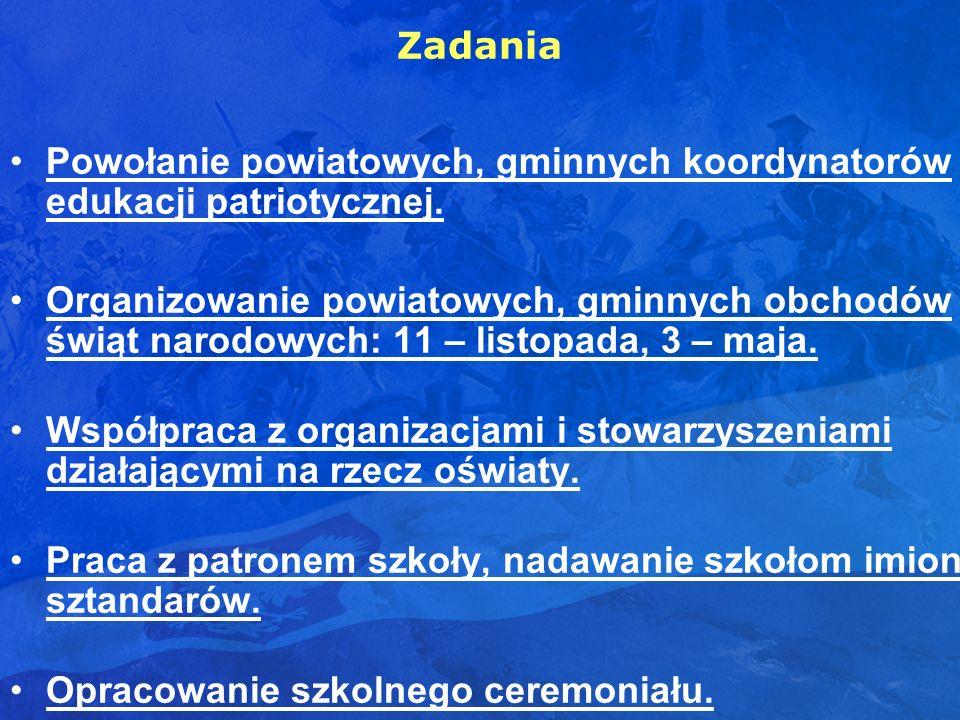 Zadania Powołanie powiatowych, gminnych koordynatorów edukacji patriotycznej.