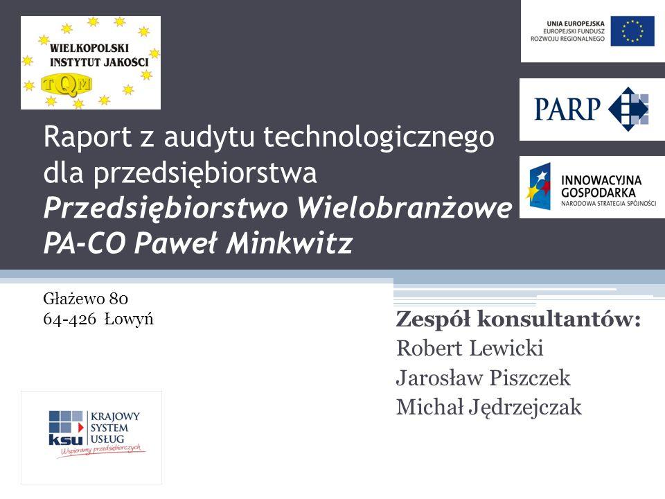 Raport z audytu technologicznego dla przedsiębiorstwa Przedsiębiorstwo Wielobranżowe PA-CO Paweł Minkwitz