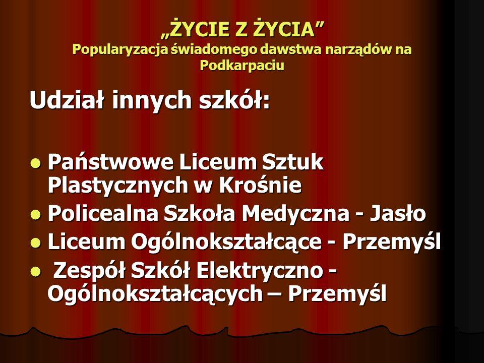 Udział innych szkół: Państwowe Liceum Sztuk Plastycznych w Krośnie