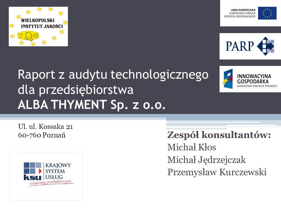 Raport z audytu technologicznego dla przedsiębiorstwa ALBA THYMENT Sp
