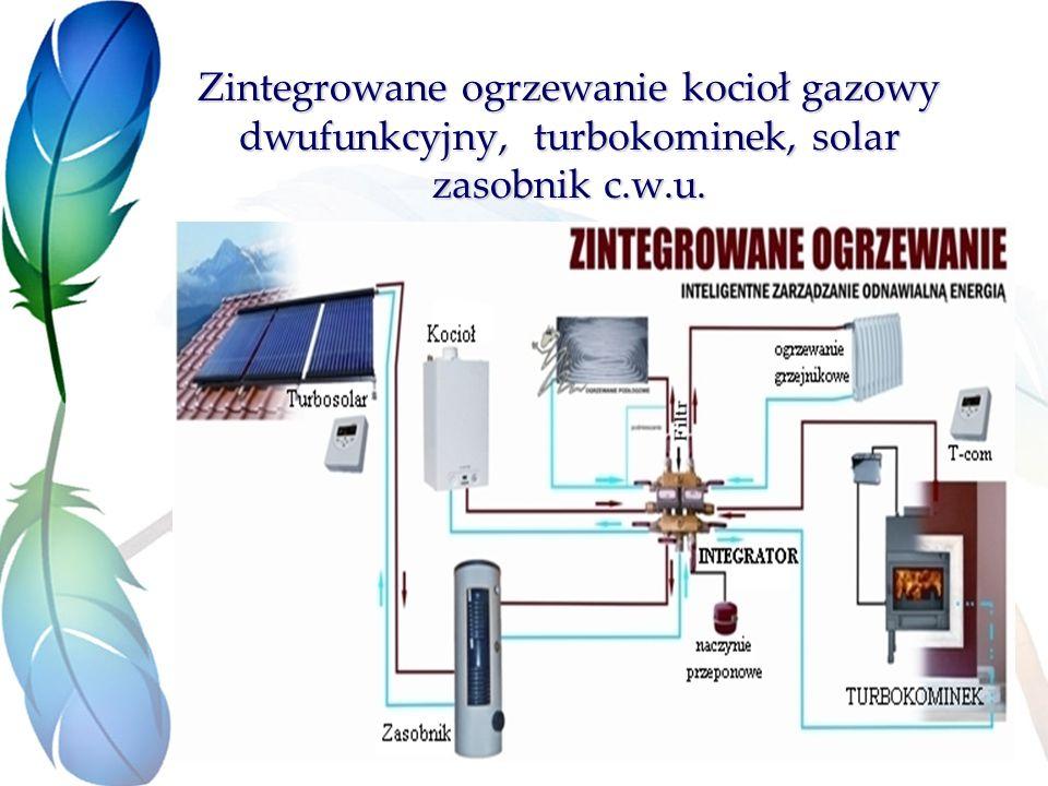 Zintegrowane ogrzewanie kocioł gazowy dwufunkcyjny, turbokominek, solar zasobnik c.w.u.