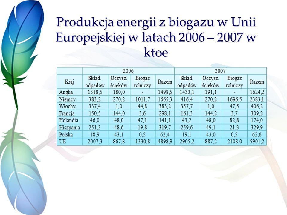 Produkcja energii z biogazu w Unii Europejskiej w latach 2006 – 2007 w ktoe