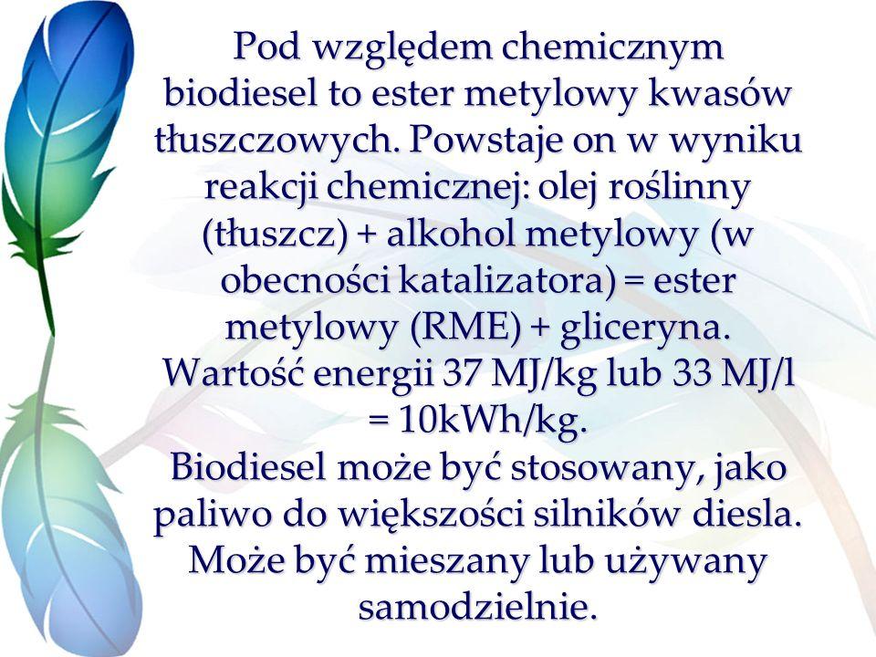 Pod względem chemicznym biodiesel to ester metylowy kwasów tłuszczowych.