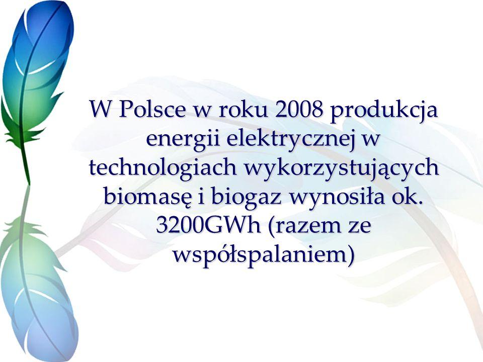 W Polsce w roku 2008 produkcja energii elektrycznej w technologiach wykorzystujących biomasę i biogaz wynosiła ok.