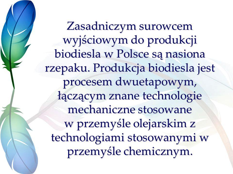 Zasadniczym surowcem wyjściowym do produkcji biodiesla w Polsce są nasiona rzepaku.