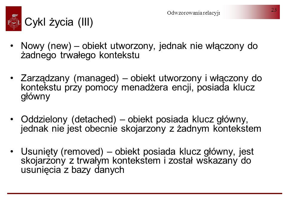Cykl życia (III)Nowy (new) – obiekt utworzony, jednak nie włączony do żadnego trwałego kontekstu.