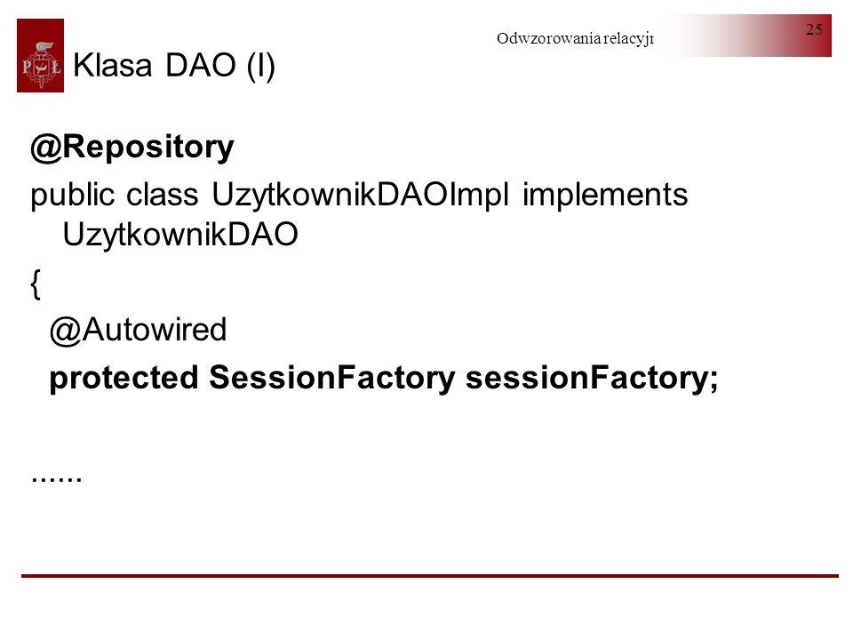 Klasa DAO (I)@Repository. public class UzytkownikDAOImpl implements UzytkownikDAO. { @Autowired. protected SessionFactory sessionFactory;