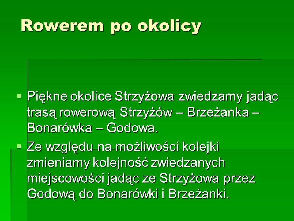 Rowerem po okolicy Piękne okolice Strzyżowa zwiedzamy jadąc trasą rowerową Strzyżów – Brzeżanka – Bonarówka – Godowa.