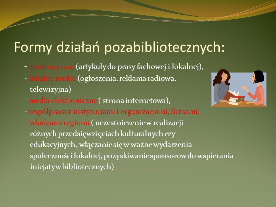Formy działań pozabibliotecznych: