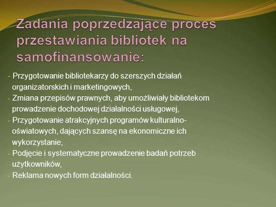 Zadania poprzedzające proces przestawiania bibliotek na samofinansowanie: