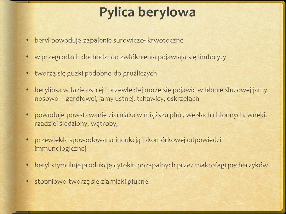 Pylica berylowa beryl powoduje zapalenie surowiczo- krwotoczne