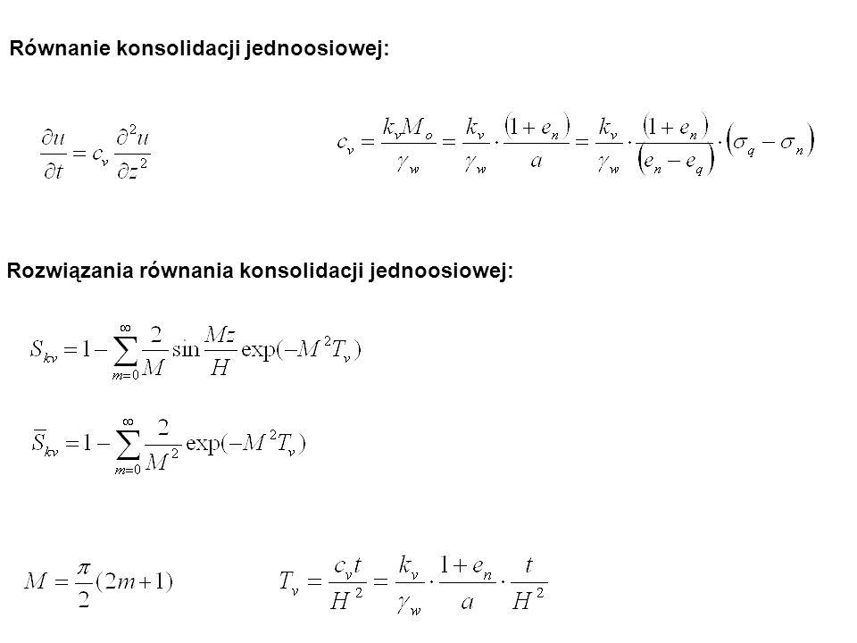Równanie konsolidacji jednoosiowej: