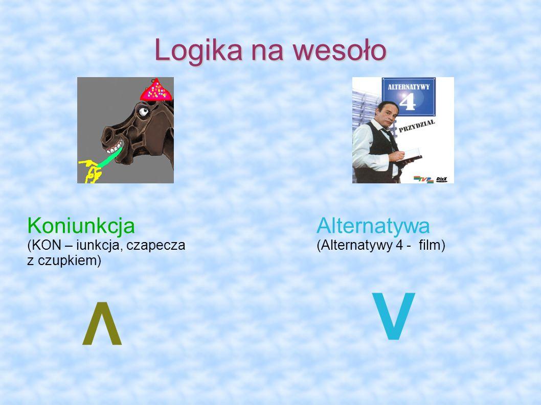 V Λ Logika na wesoło Koniunkcja Alternatywa