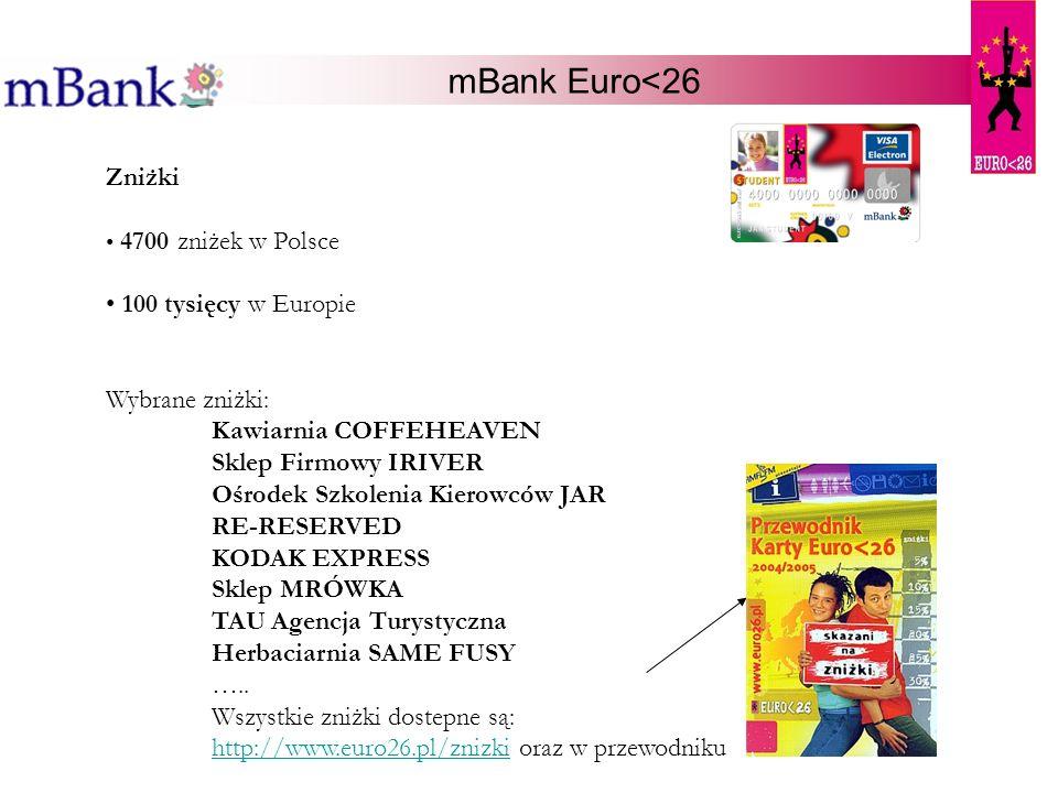 mBank Euro<26 Zniżki 100 tysięcy w Europie Wybrane zniżki: