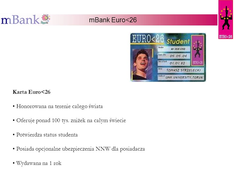 mBank Euro<26 Karta Euro<26 Honorowana na terenie całego świata