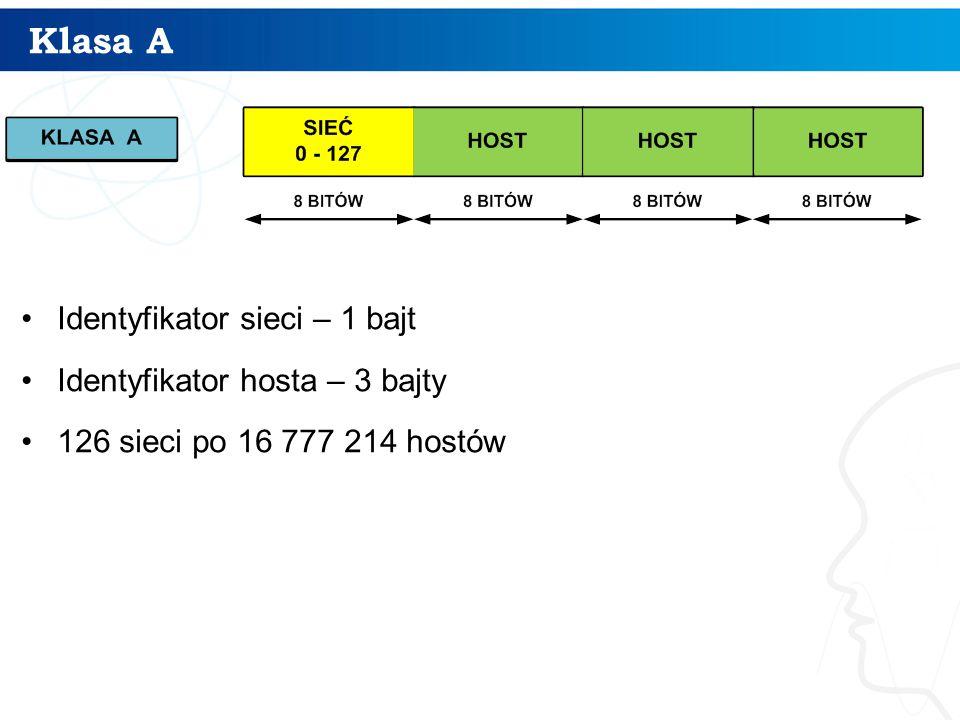Klasa A Identyfikator sieci – 1 bajt Identyfikator hosta – 3 bajty