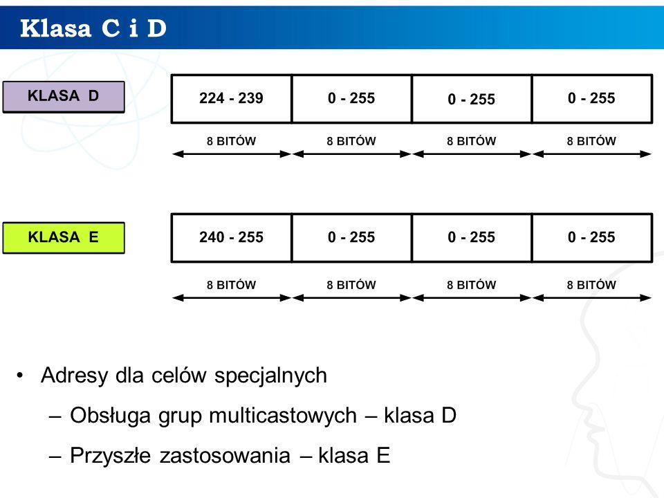 Klasa C i D Adresy dla celów specjalnych