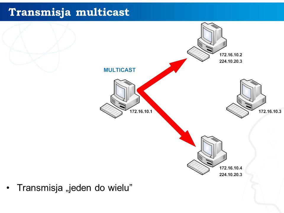 """Transmisja multicast Transmisja """"jeden do wielu"""