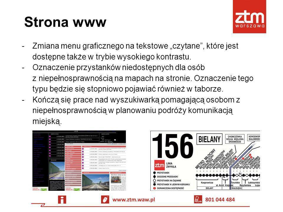 """Strona www Zmiana menu graficznego na tekstowe """"czytane , które jest dostępne także w trybie wysokiego kontrastu."""