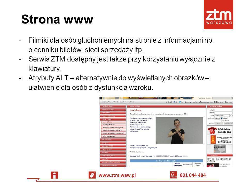 Strona www Filmiki dla osób głuchoniemych na stronie z informacjami np. o cenniku biletów, sieci sprzedaży itp.