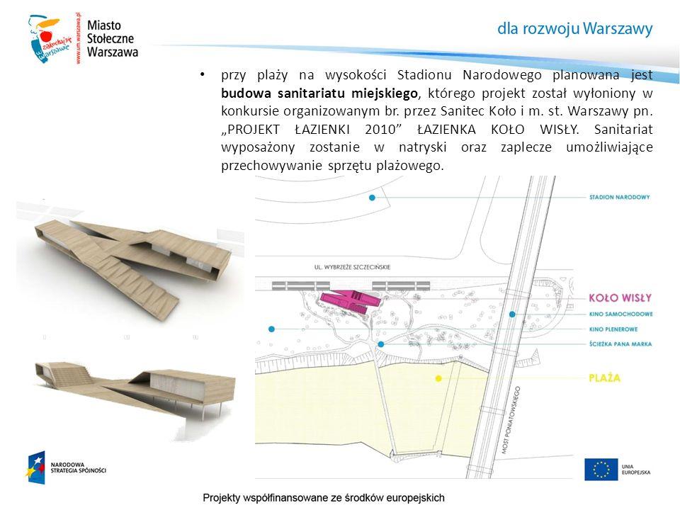 przy plaży na wysokości Stadionu Narodowego planowana jest budowa sanitariatu miejskiego, którego projekt został wyłoniony w konkursie organizowanym br.