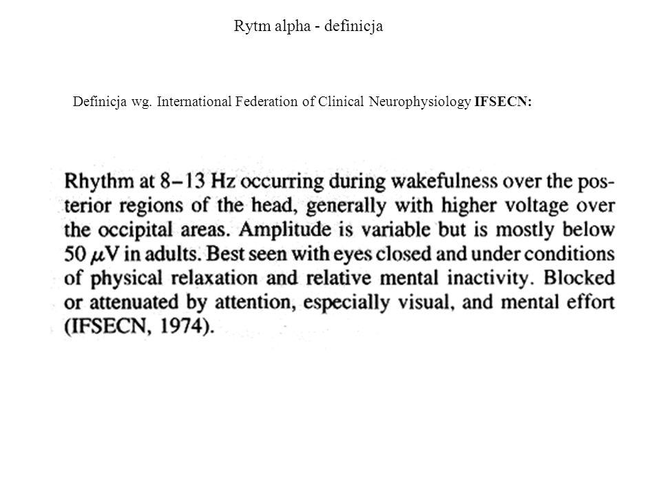 Rytm alpha - definicja Definicja wg. International Federation of Clinical Neurophysiology IFSECN: