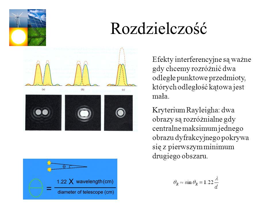 Rozdzielczość Efekty interferencyjne są ważne gdy chcemy rozróżnić dwa odległe punktowe przedmioty, których odległość kątowa jest mała.