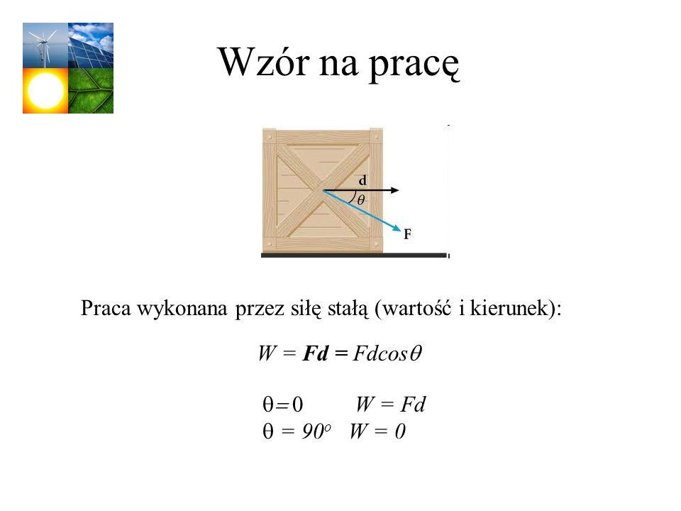 Wzór na pracę Praca wykonana przez siłę stałą (wartość i kierunek):