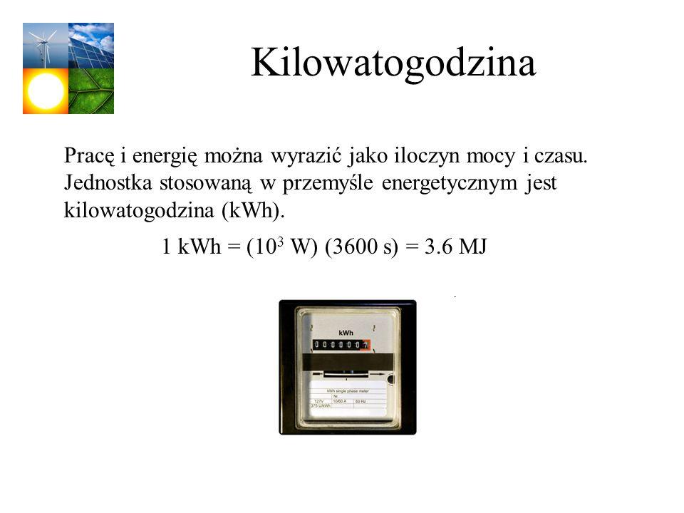 Kilowatogodzina Pracę i energię można wyrazić jako iloczyn mocy i czasu. Jednostka stosowaną w przemyśle energetycznym jest kilowatogodzina (kWh).