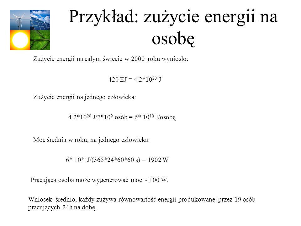 Przykład: zużycie energii na osobę