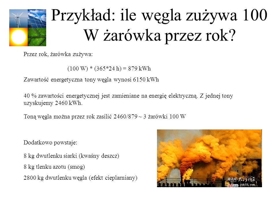 Przykład: ile węgla zużywa 100 W żarówka przez rok